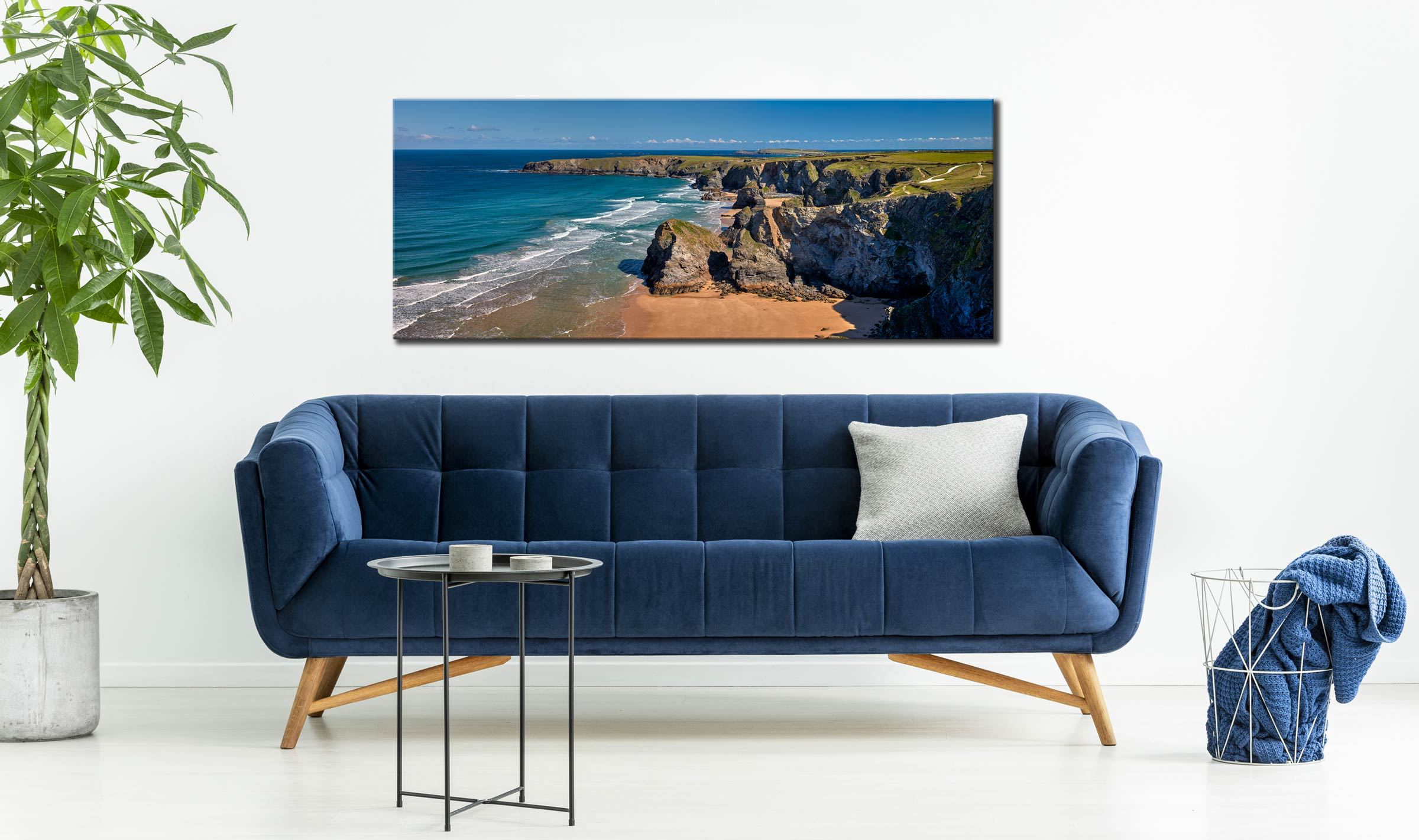 Cliffs and Stacks at Bedruthan - Canvas Print on Wall