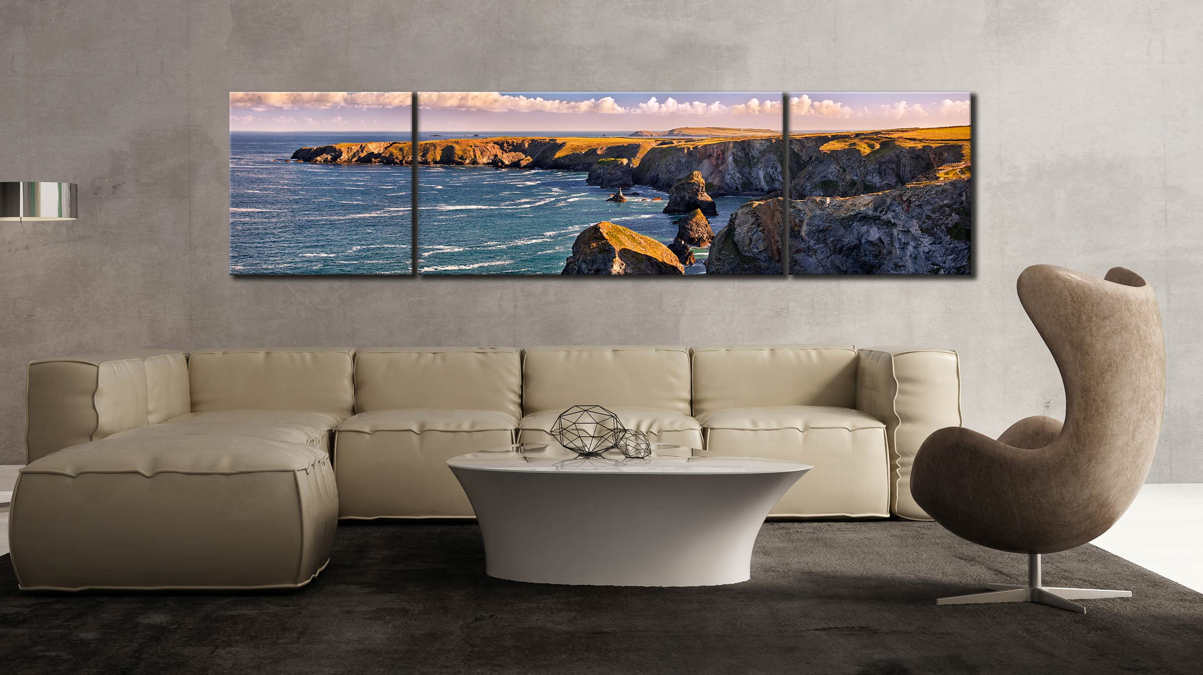 Bedruthan Steps Headland - 3 Panel Wide Centre Canvas on Wall