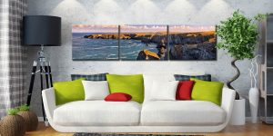 Bedruthan Steps Headland - 3 Panel Canvas on Wall