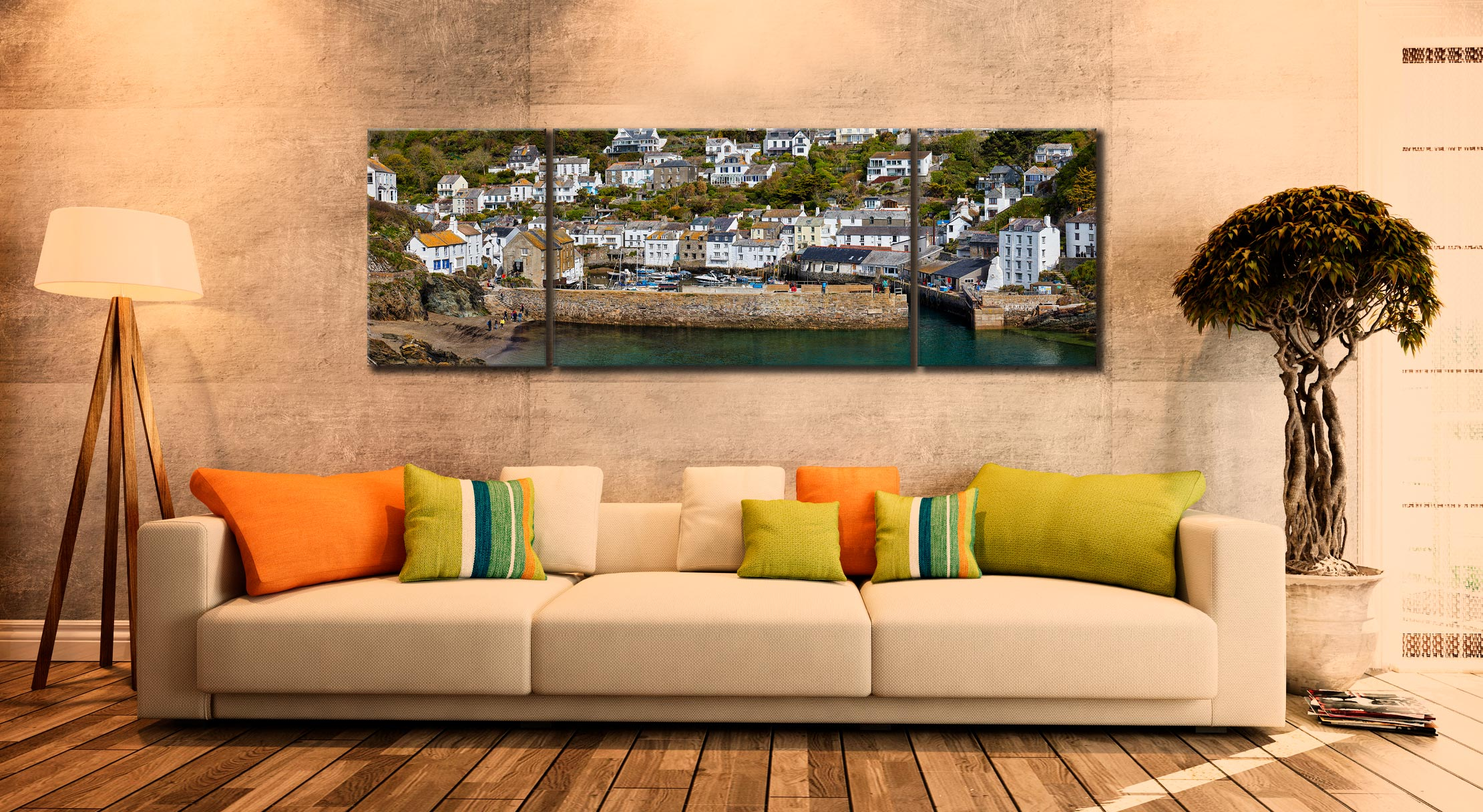 Polperro Harbour Wall - 3 Panel Wide Mid Canvas on Wall