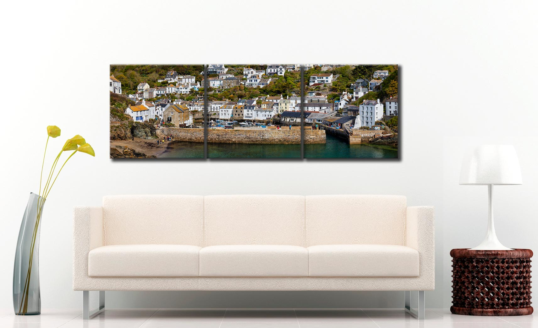 Polperro Harbour Wall - 3 Panel Canvas on Wall