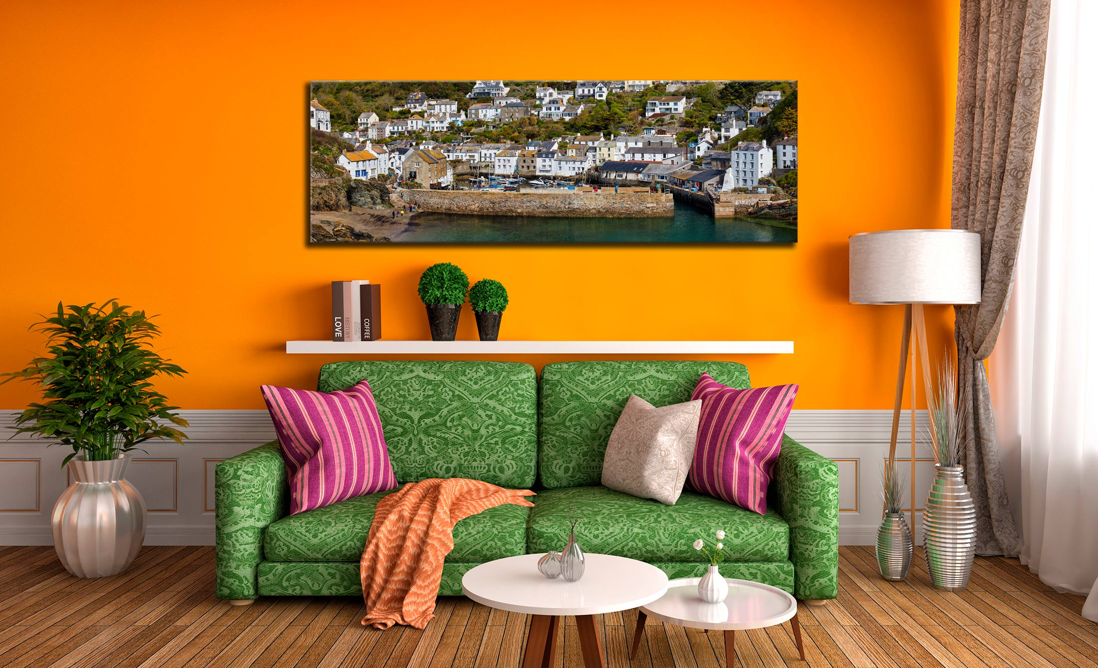Polperro Harbour Wall - Canvas Print on wall