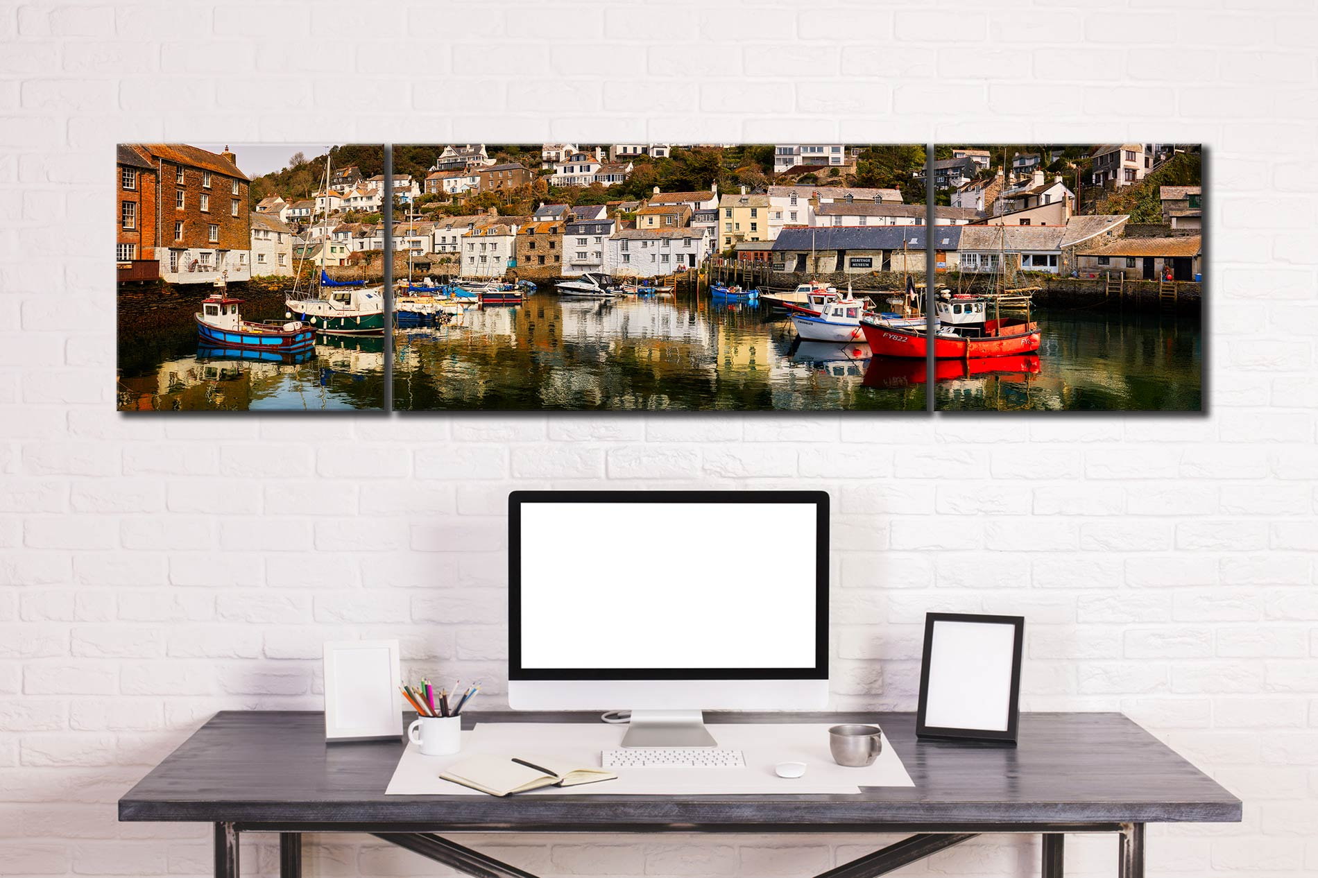 Polperro Reflections - 3 Panel Wide Centre Canvas on Wall