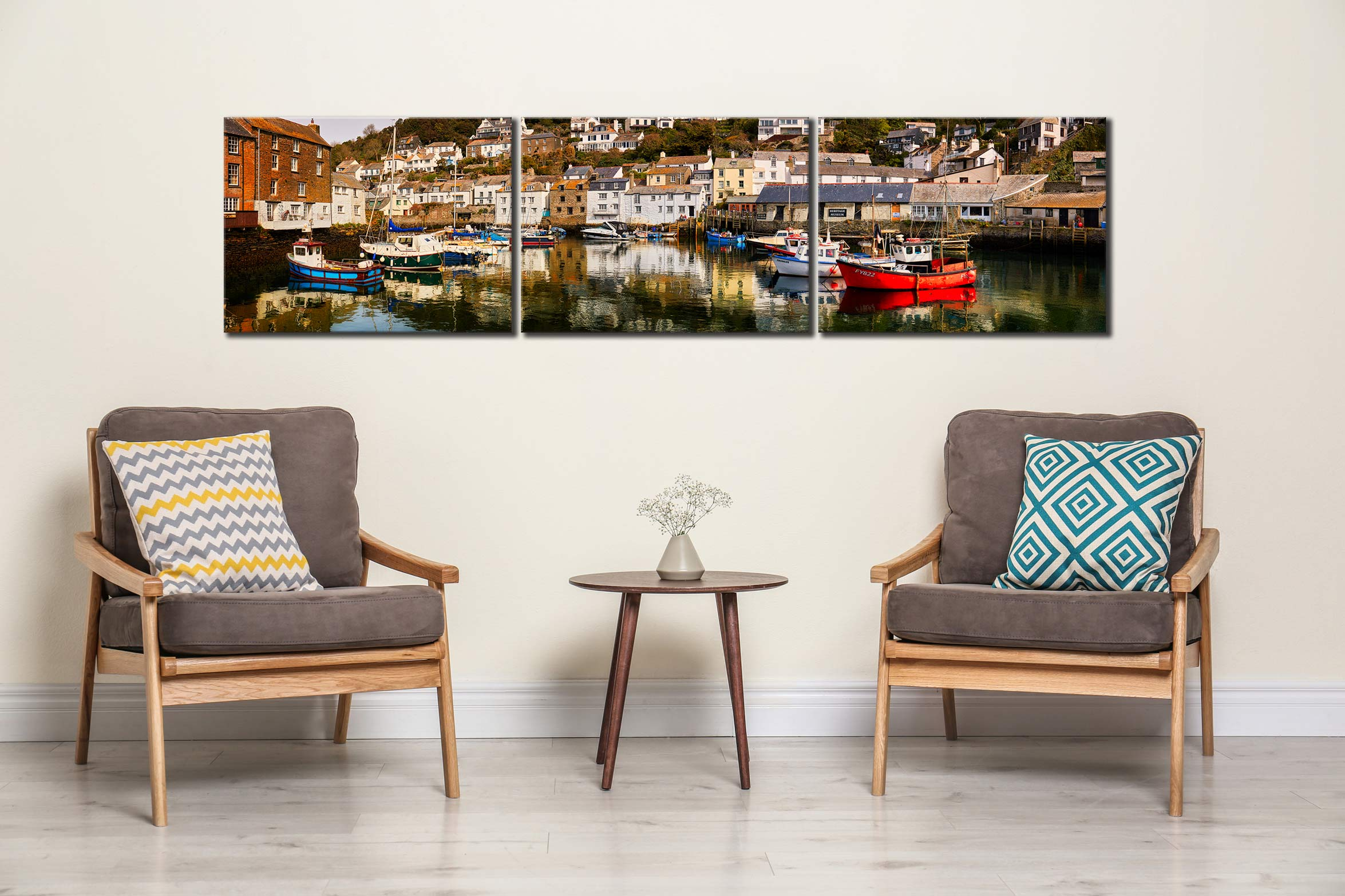 Polperro Reflections - 3 Panel Canvas on Wall