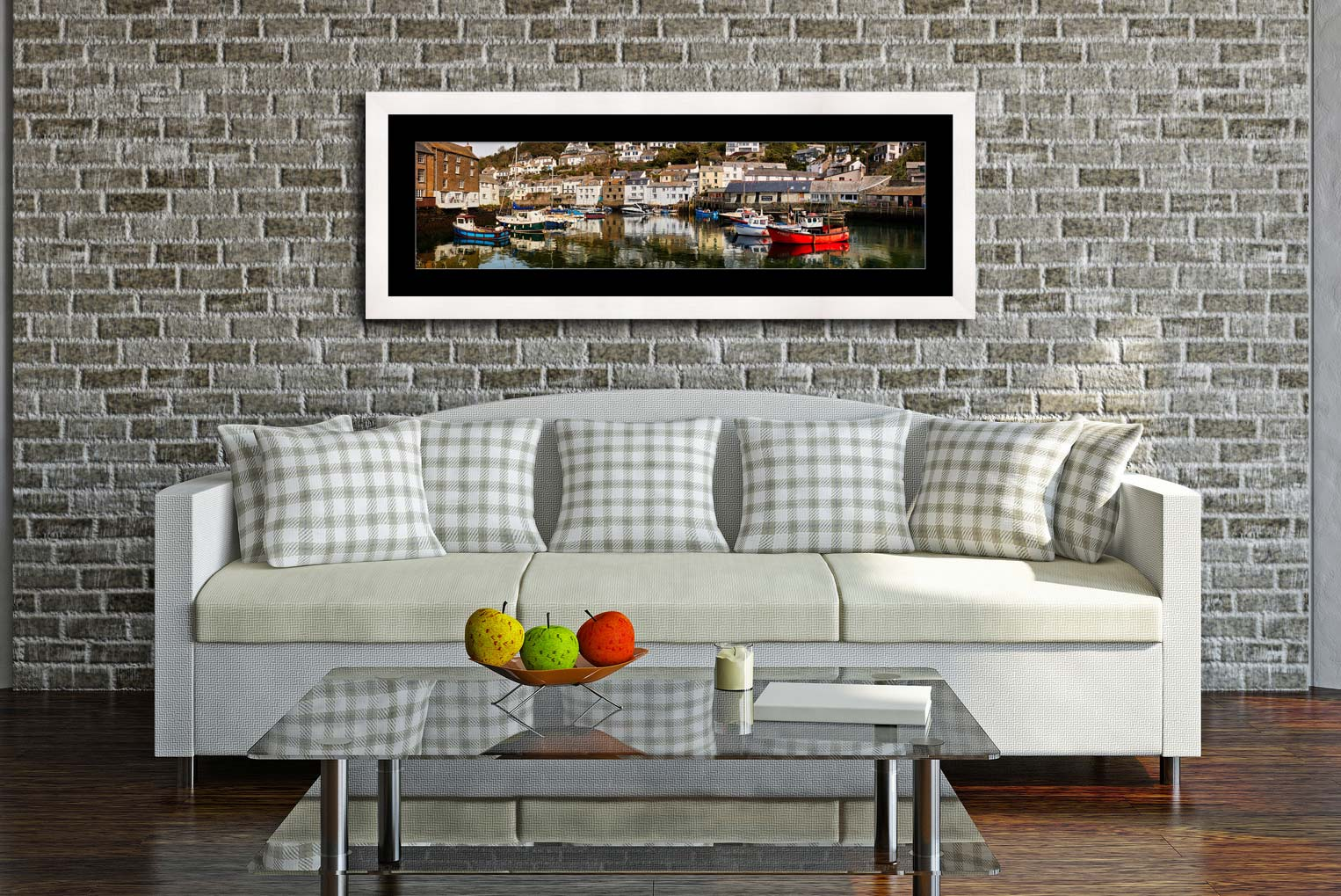 Polperro Reflections - Framed Print with Mount on Wall