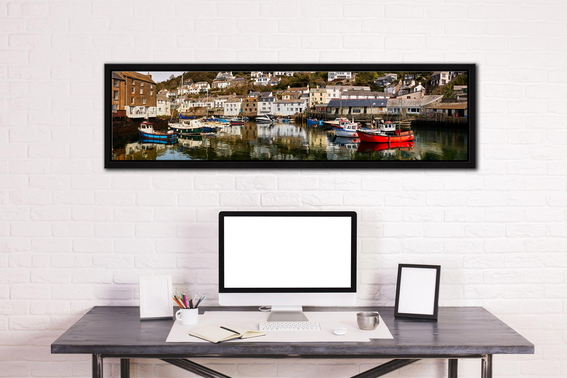 Polperro Reflections - Black oak floater frame with acrylic glazing on Wall