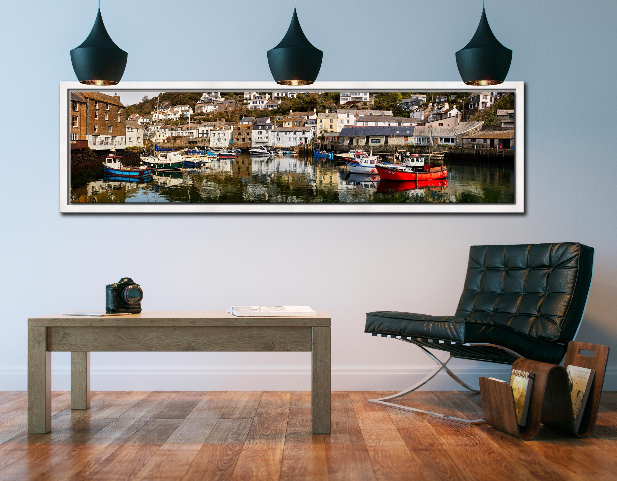 Polperro Reflections - White Maple floater frame with acrylic glazing on Wall
