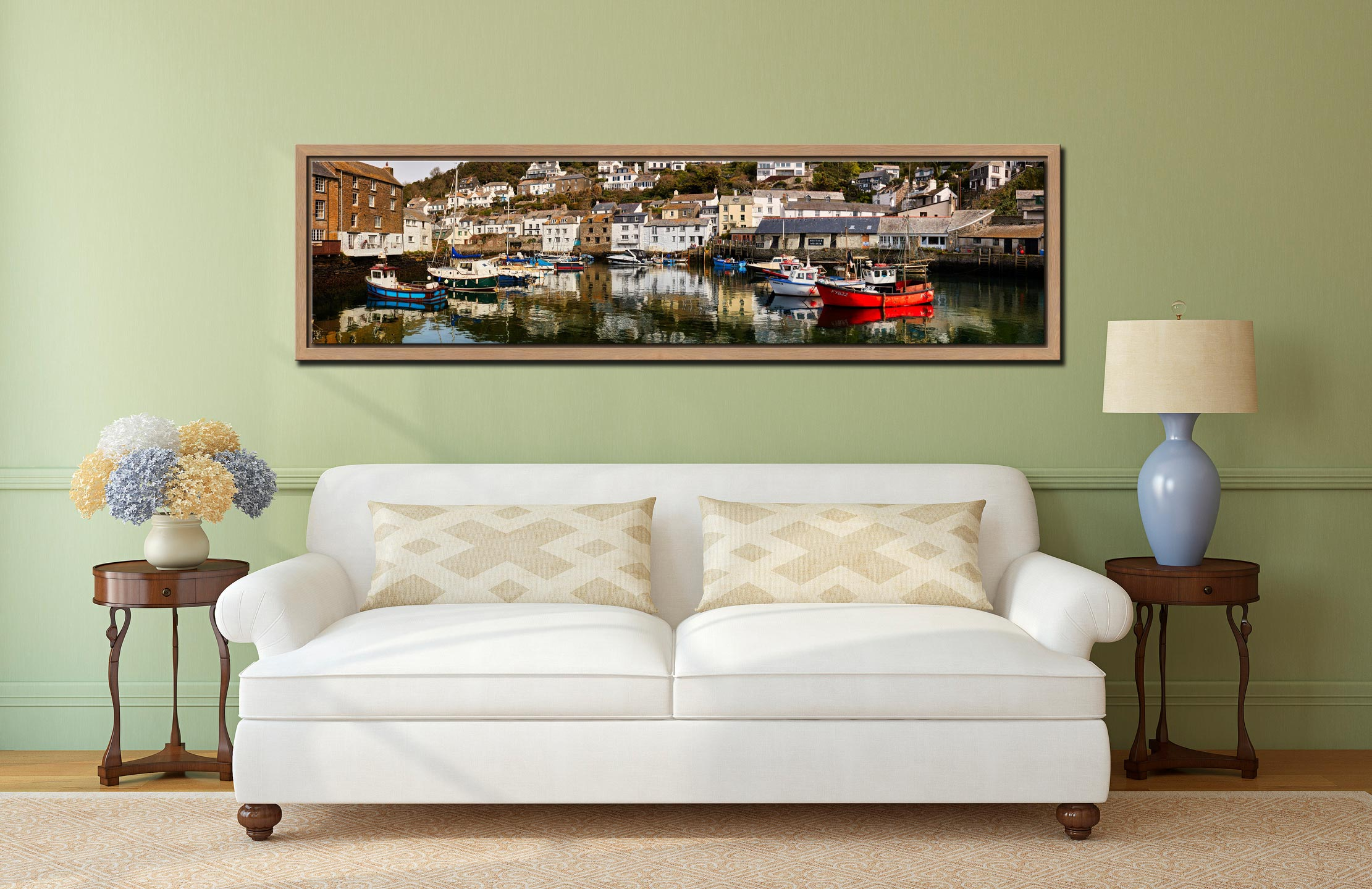 Polperro Reflections - Oak floater frame with acrylic glazing on Wall