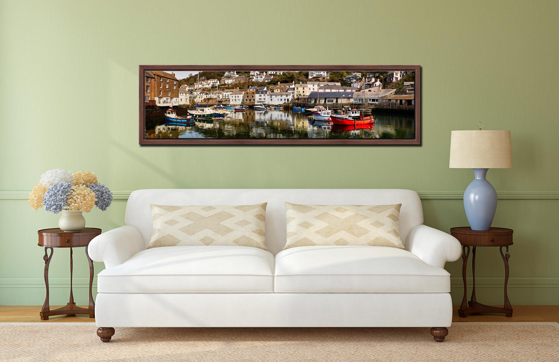 Polperro Reflections - Walnut floater frame with acrylic glazing on Wall