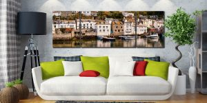 Harbour Cottages Polperro - 3 Panel Wide Mid Canvas on Wall