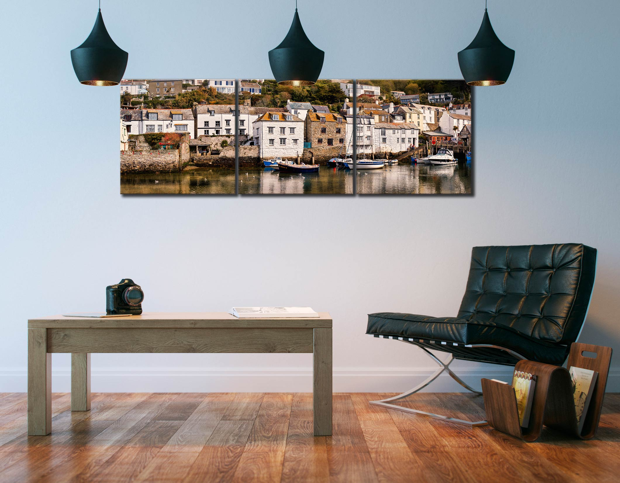 Harbour Cottages Polperro - 3 Panel Canvas on Wall