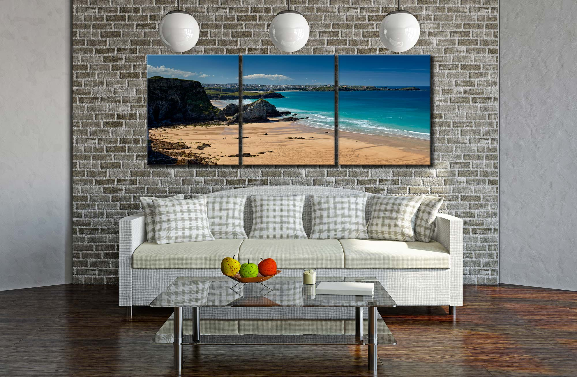 Porth Beach and Newquay - 3 Panel Canvas on Wall
