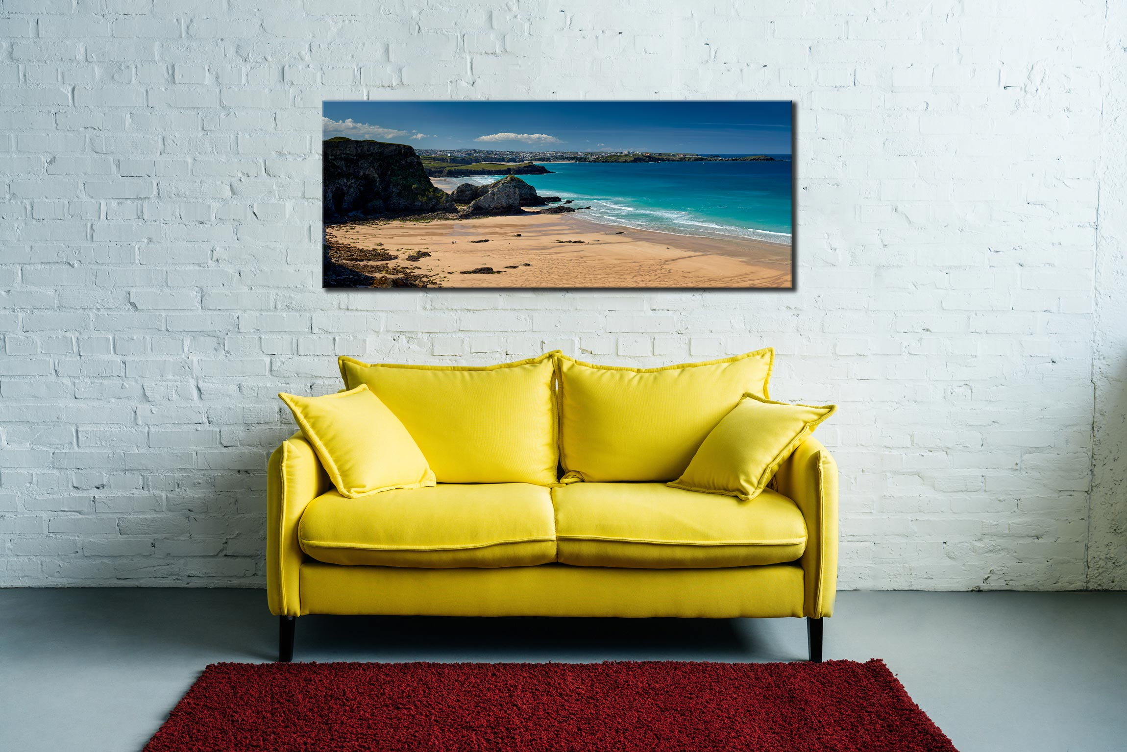 Porth Beach and Newquay - Canvas Print on Wall