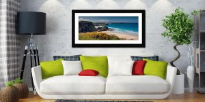 Porth Beach and Rock Stacks - Framed Print with Mount on Wall