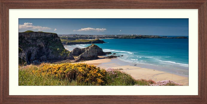 Porth Beach and Rock Stacks - Framed Print with Mount