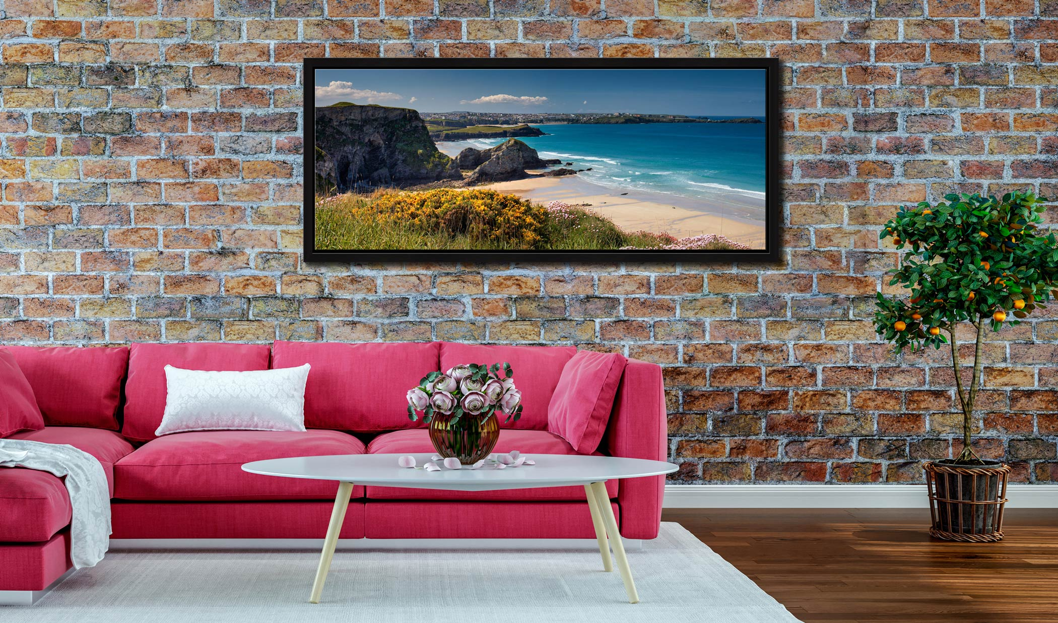 View to Newquay over wildflowers on the clifftops above Porth beach - Black oak floater frame with acrylic glazing on Wall
