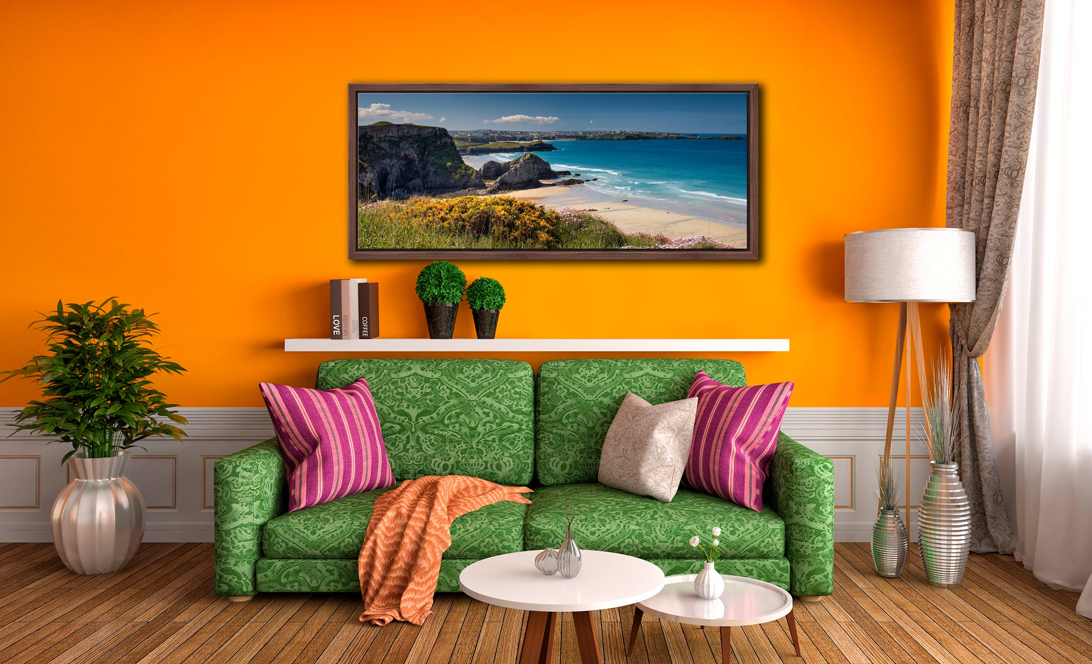 View to Newquay over wildflowers on the clifftops above Porth beach - Walnut floater frame with acrylic glazing on Wall