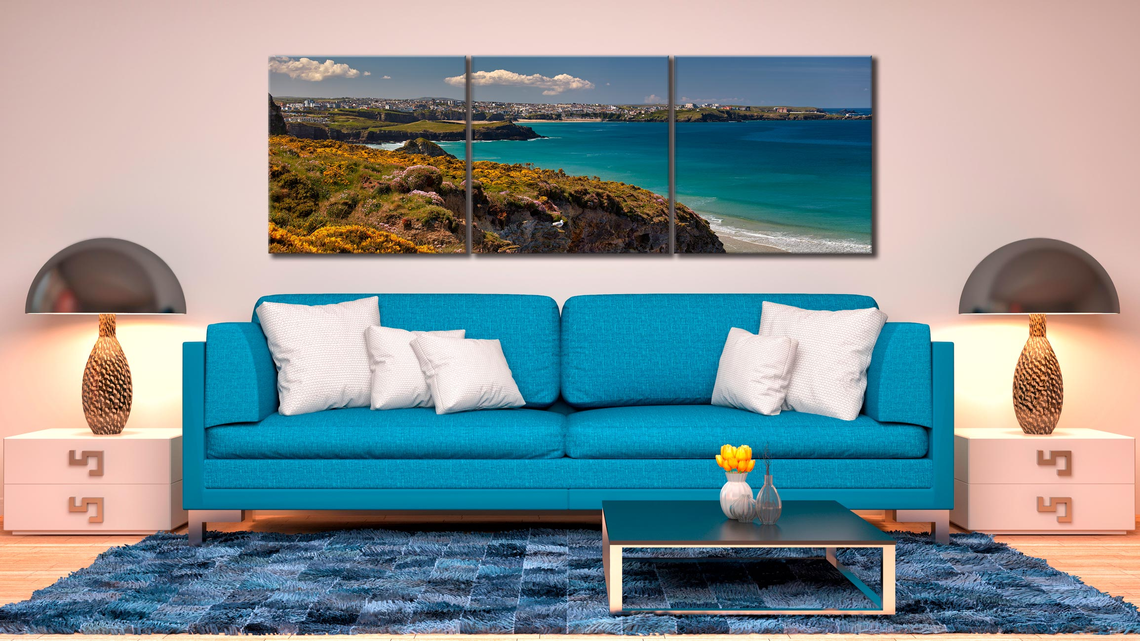 Wildflowers on Porth Cliffs - 3 Panel Canvas on Wall