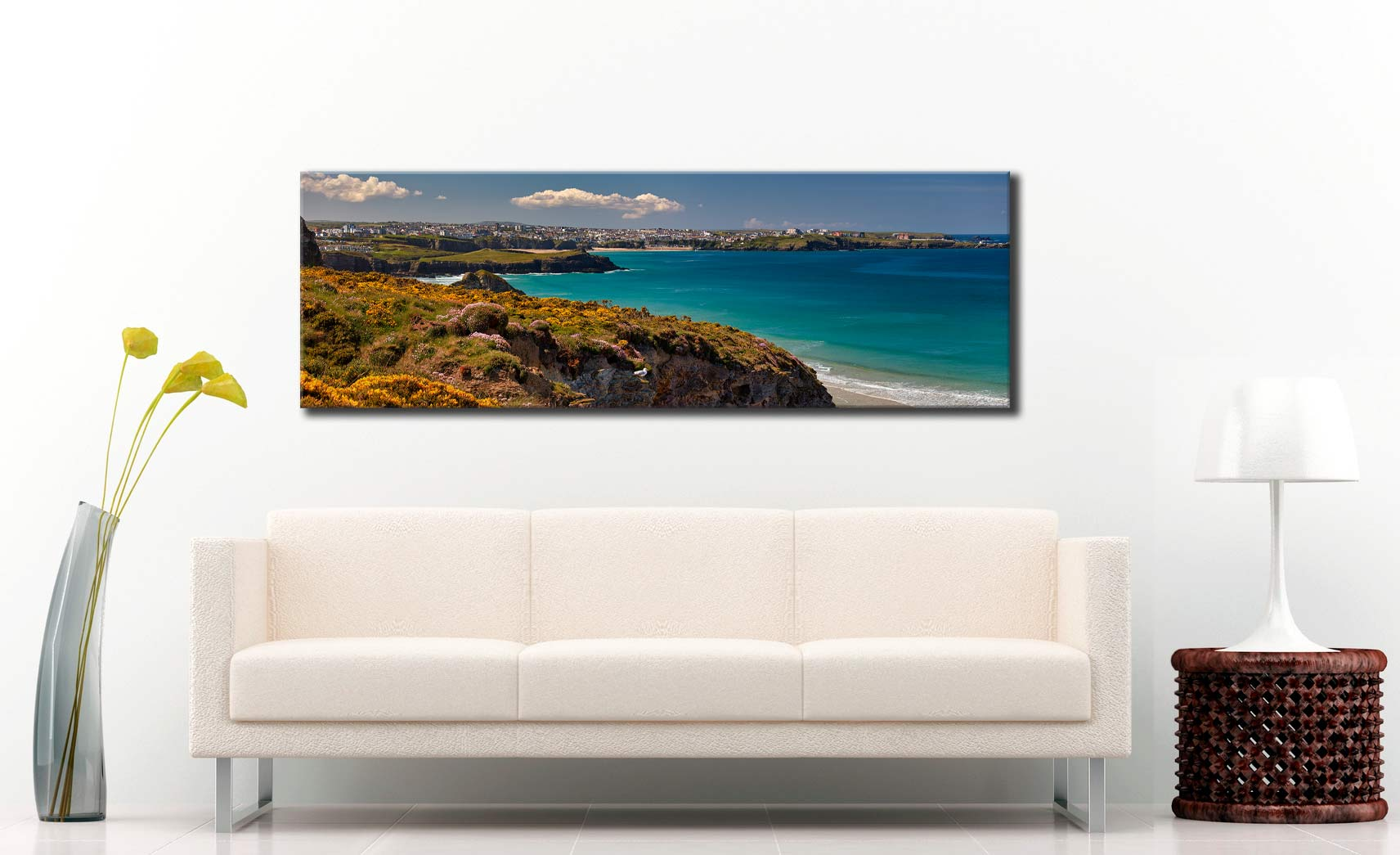Wildflowers on Porth Cliffs - Canvas Print on wall