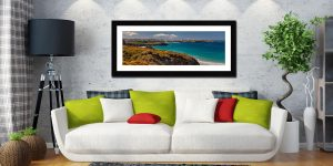 Wildflowers on Porth Cliffs - Framed Print with Mount on Wall