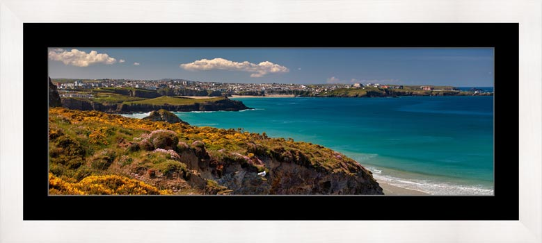 Wildflowers on Porth Cliffs - Framed Print with Mount