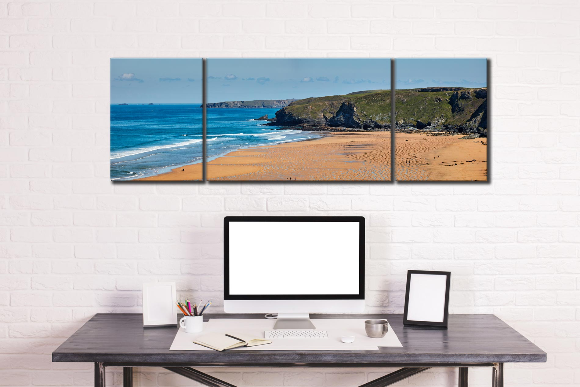 Watergate Bay Panorama - 3 Panel Wide Mid Canvas on Wall