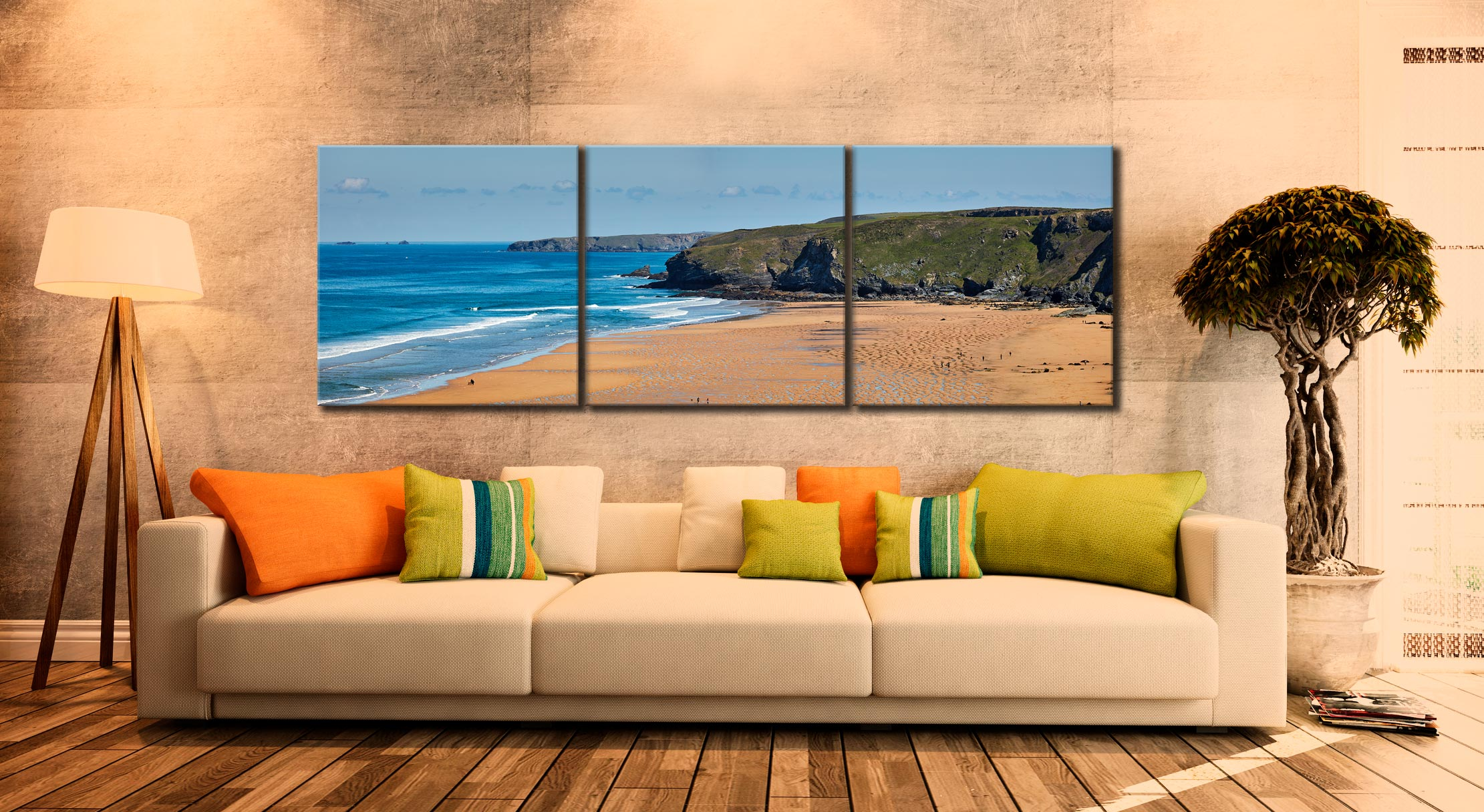 Watergate Bay Panorama - 3 Panel Canvas on Wall
