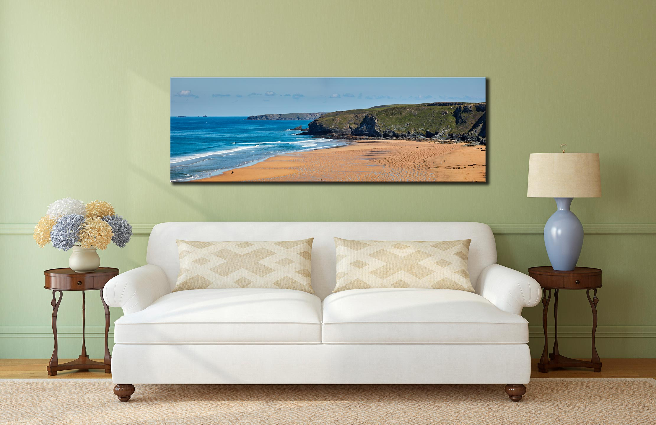 Watergate Bay Panorama - Canvas Print on wall