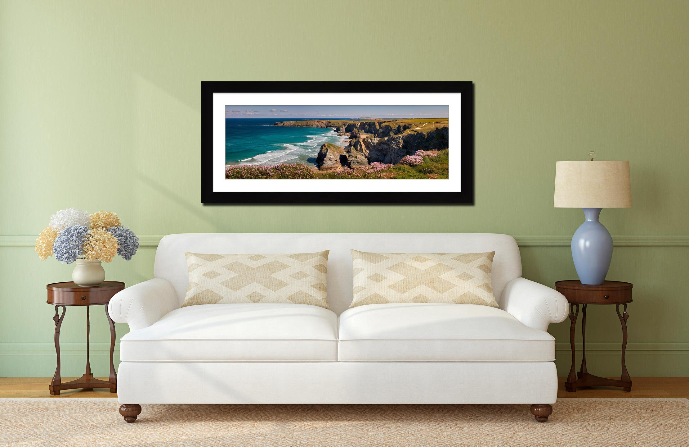 Spring Sunshine Bedruthan Steps - Framed Print with Mount on Wall