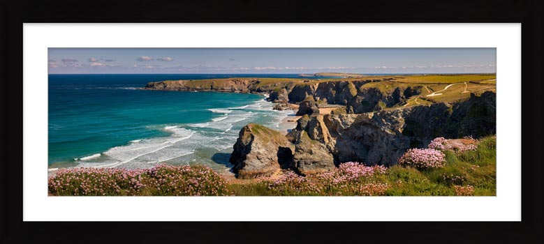 Spring Sunshine Bedruthan Steps - Framed Print with Mount