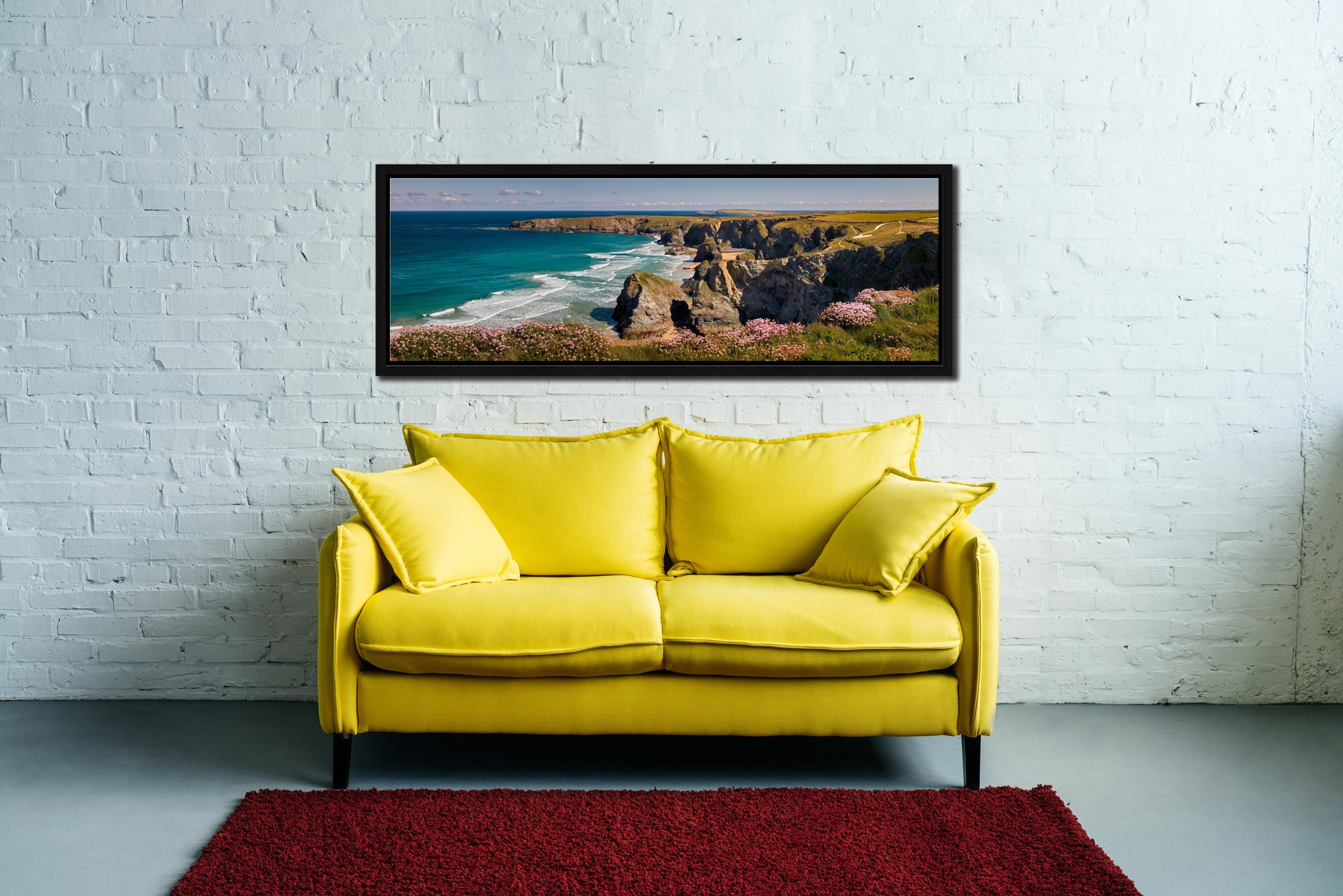 A lovely, sunny spring morning at Bedruthan Steps - Black oak floater frame with acrylic glazing on Wall