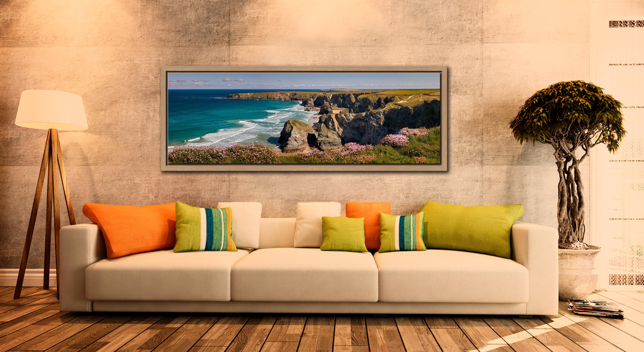 A lovely, sunny spring morning at Bedruthan Steps - Oak floater frame with acrylic glazing on Wall