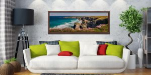 A lovely, sunny spring morning at Bedruthan Steps - Walnut floater frame with acrylic glazing on Wall