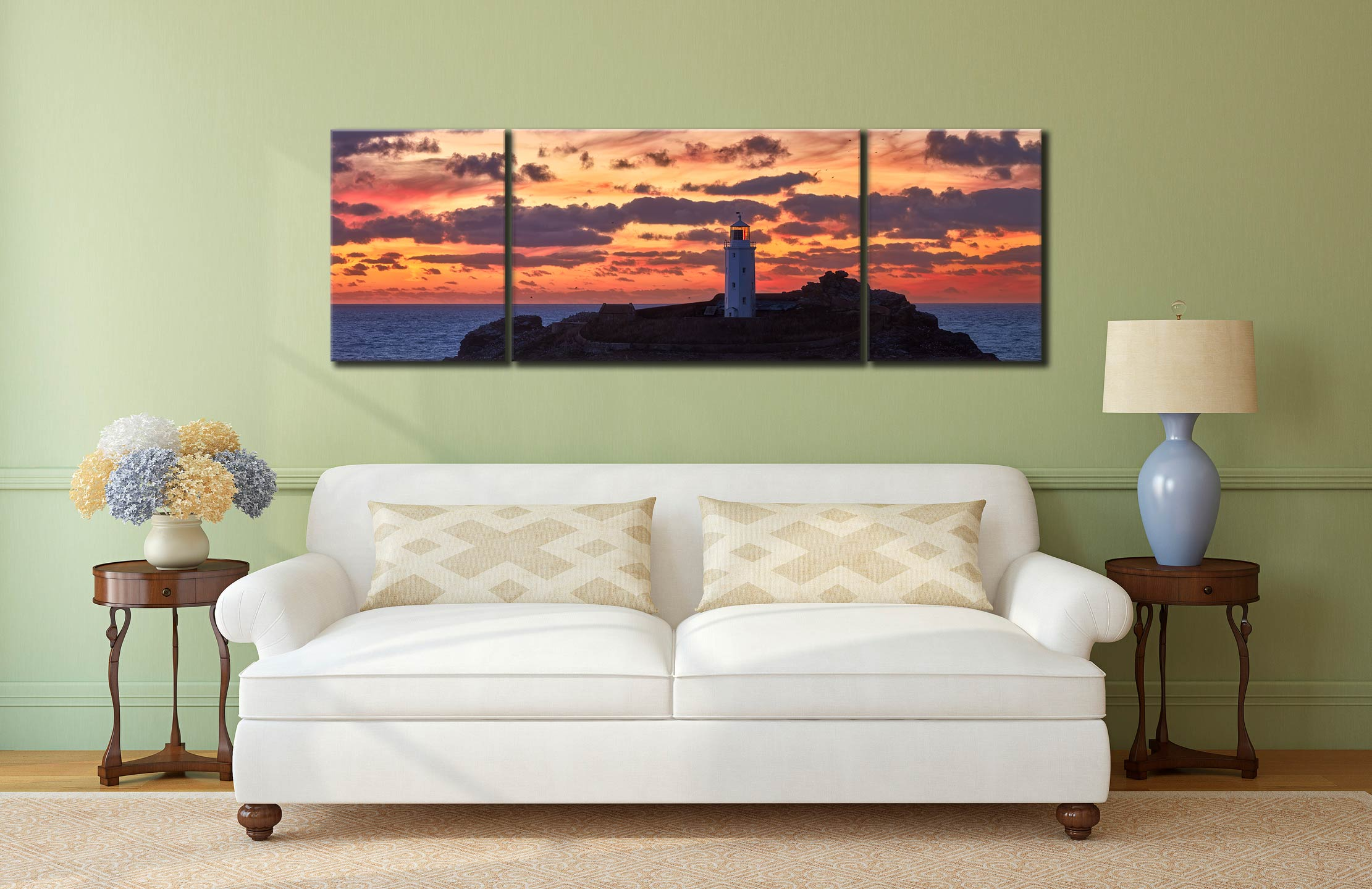 Painted Skies of Dusk at Godrevy - 3 Panel Wide Mid Canvas on Wall