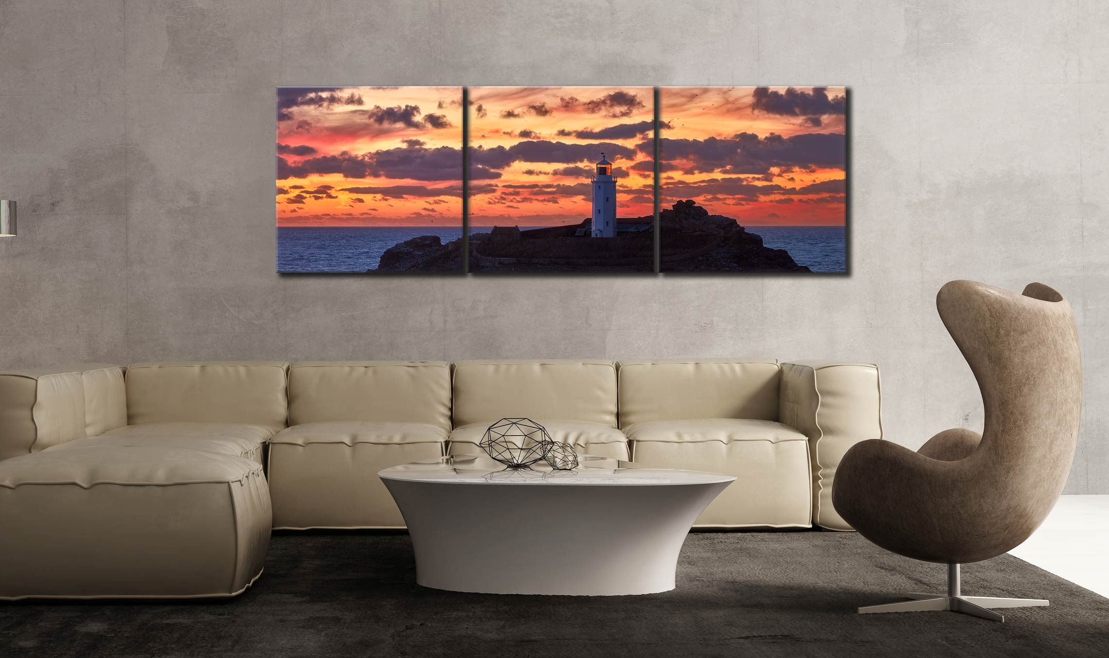 Painted Skies of Dusk at Godrevy - 3 Panel Canvas on Wall