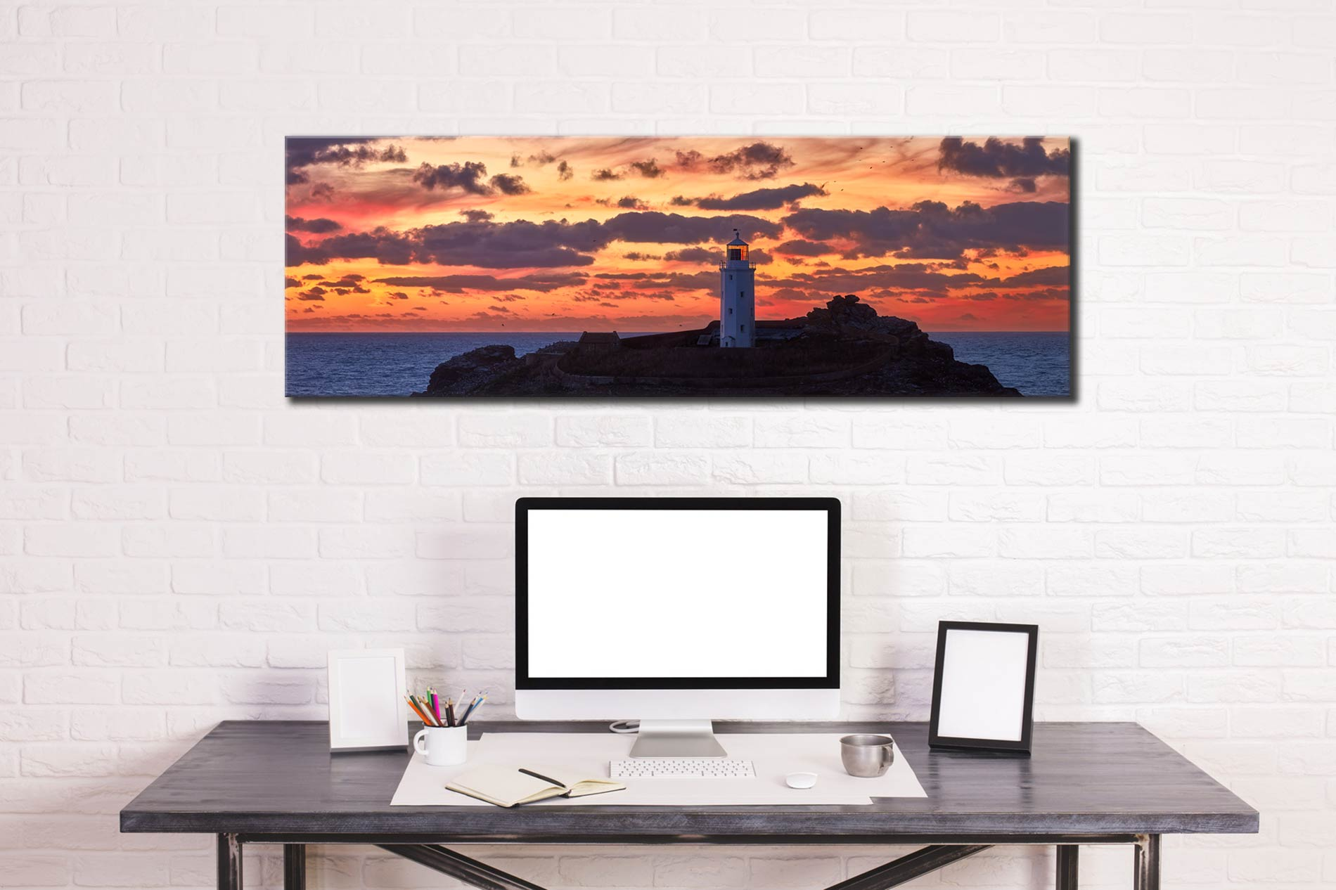 Painted Skies of Dusk at Godrevy - Canvas Print on wall