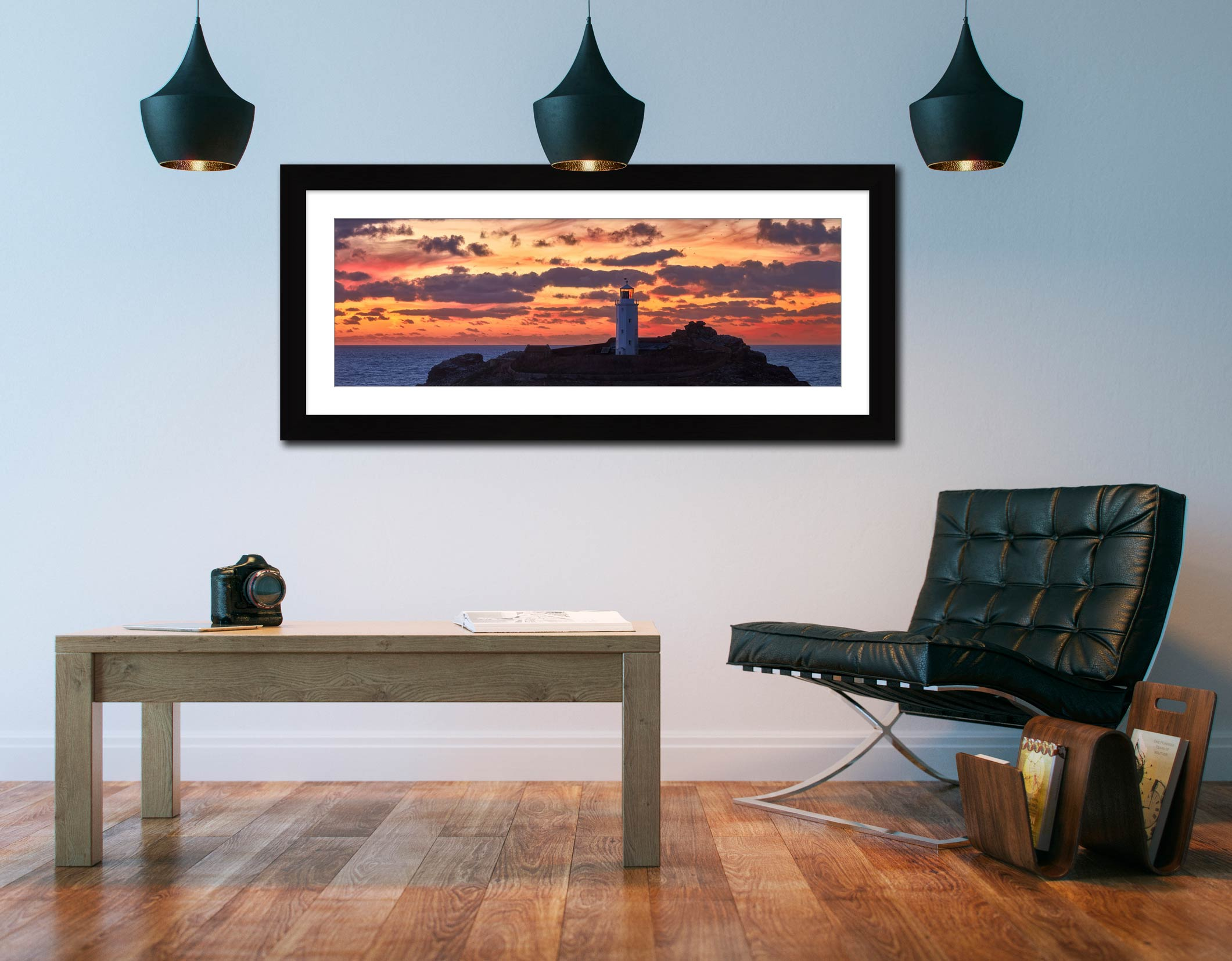 Painted Skies of Dusk at Godrevy - Framed Print with Mount on Wall