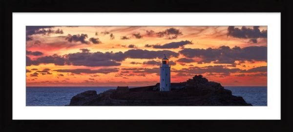 Painted Skies of Dusk at Godrevy - Framed Print with Mount