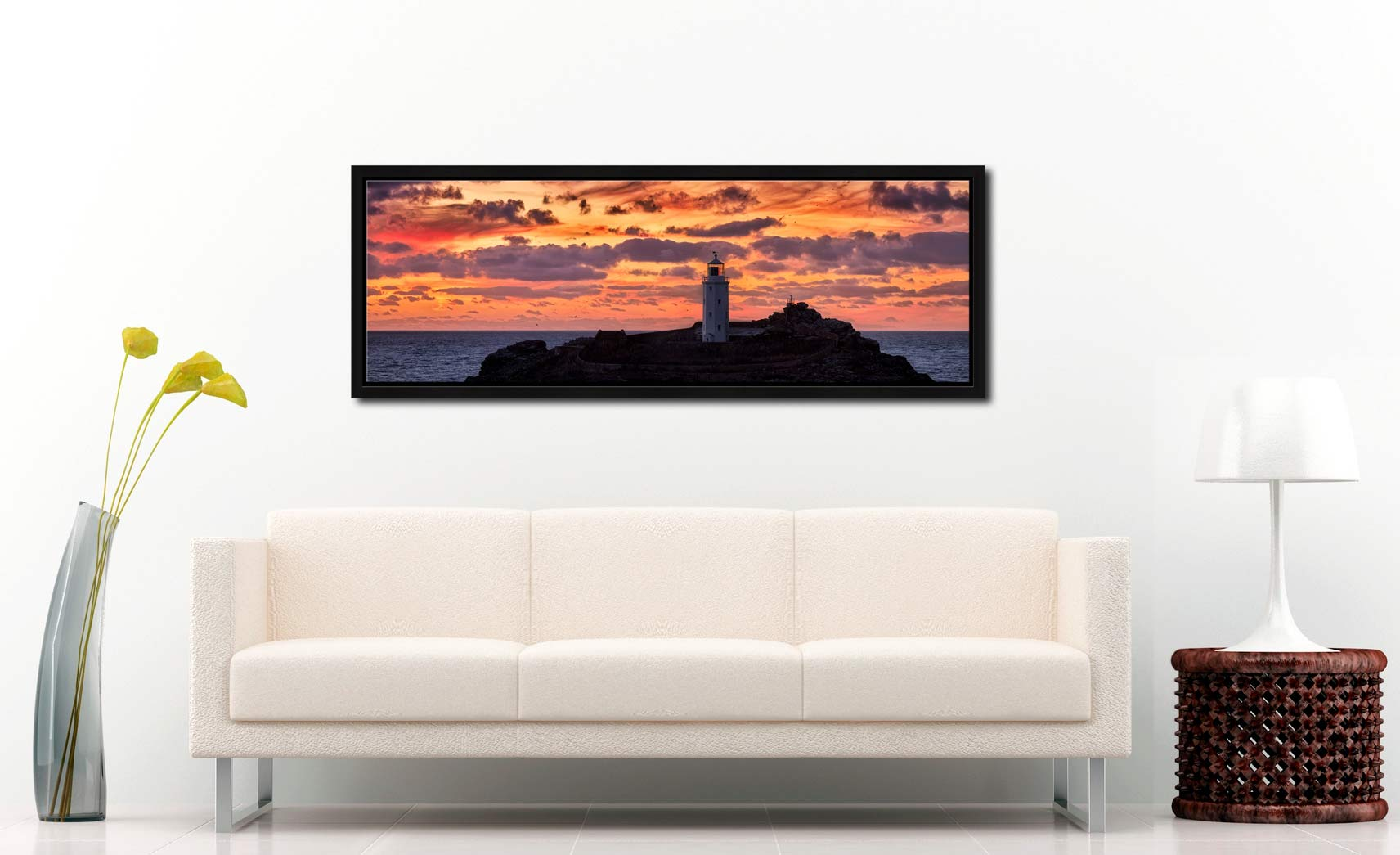 The golden colours of dusk over Godrevy lighthouse - Black oak floater frame with acrylic glazing on Wall