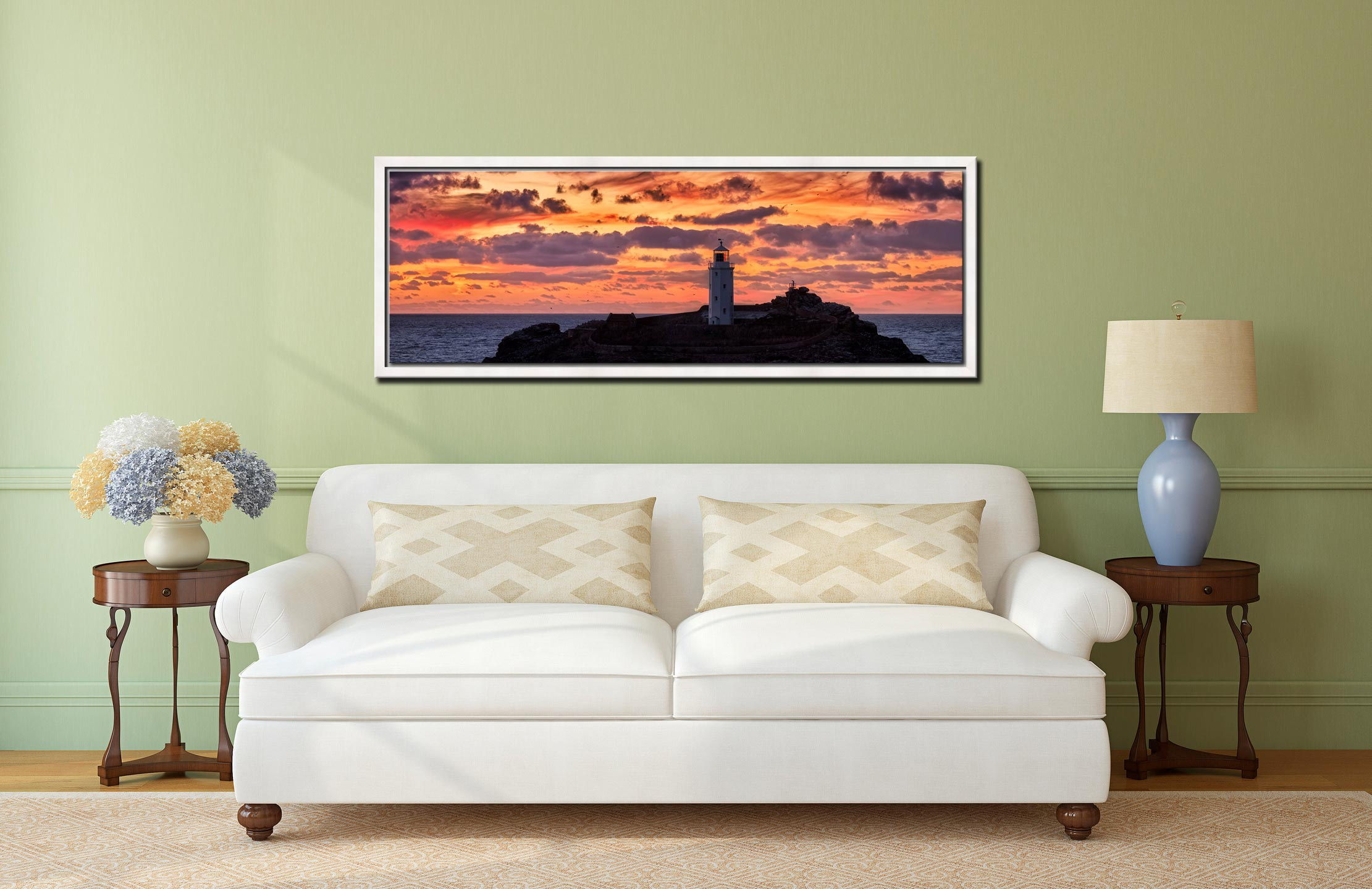 The golden colours of dusk over Godrevy lighthouse - White Maple floater frame with acrylic glazing on Wall