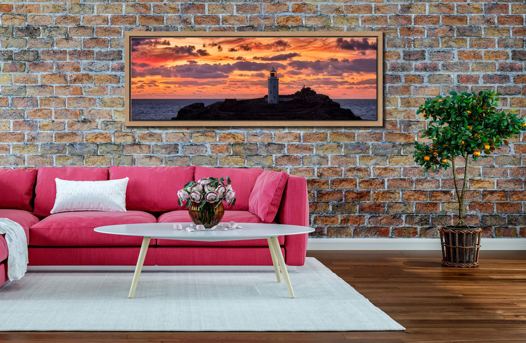The golden colours of dusk over Godrevy lighthouse - Oak floater frame with acrylic glazing on Wall