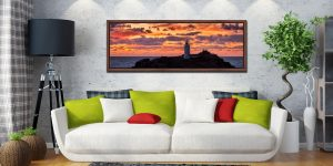 The golden colours of dusk over Godrevy lighthouse - Walnut floater frame with acrylic glazing on Wall