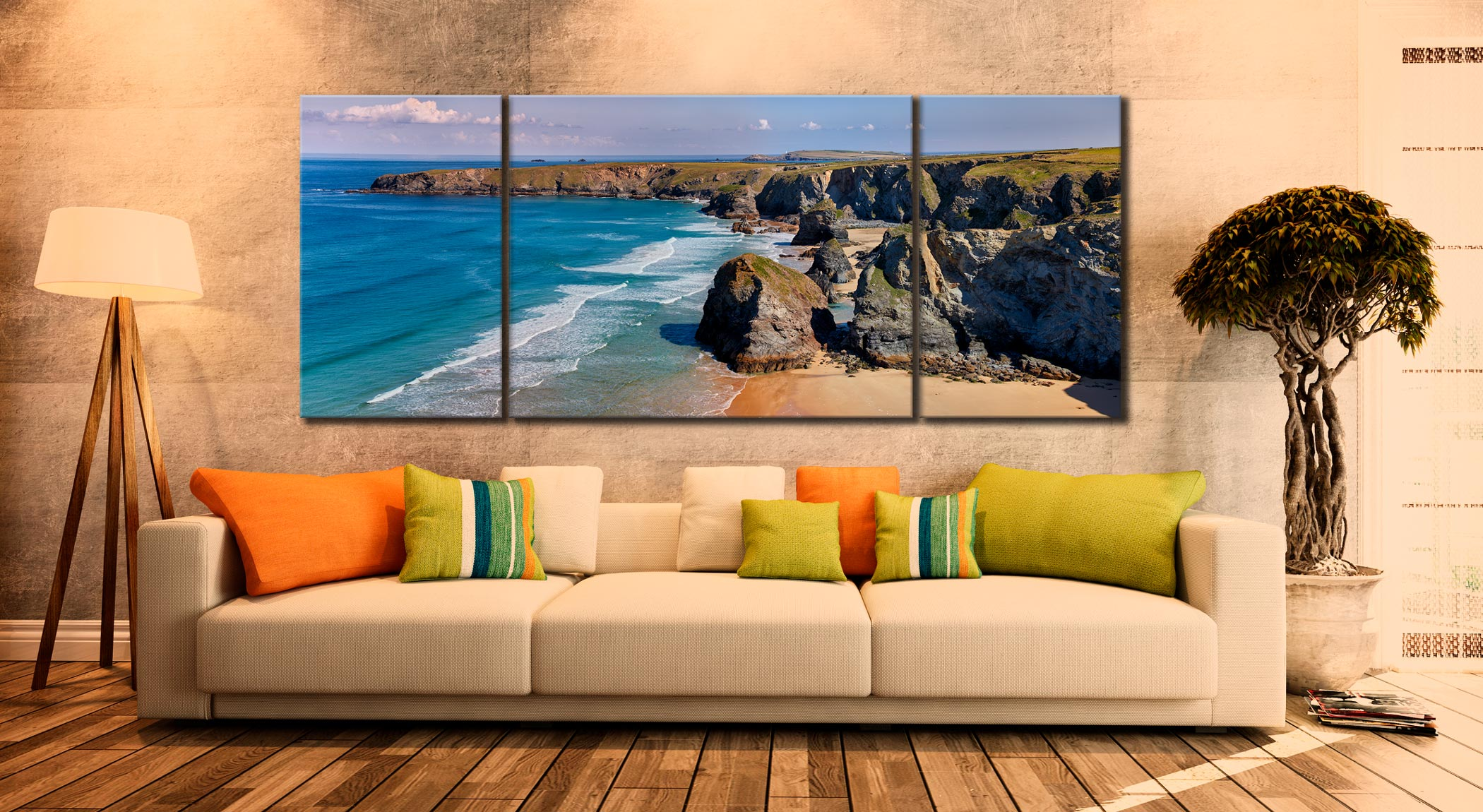 Bedruthan Rock Stacks Panorama - 3 Panel Wide Mid Canvas on Wall