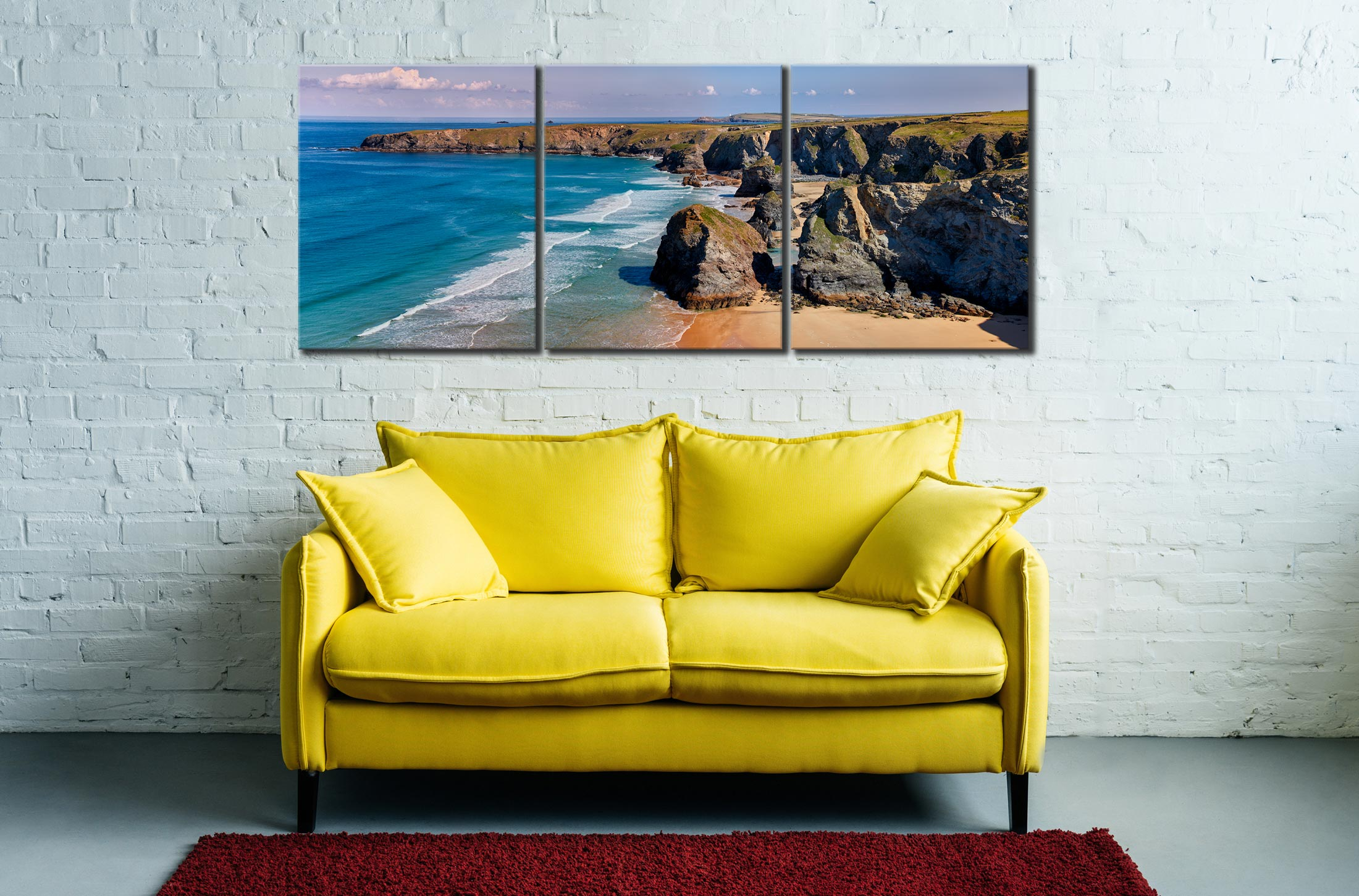 Bedruthan Rock Stacks Panorama - 3 Panel Canvas on Wall