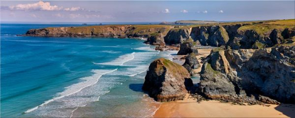 Bedruthan Rock Stacks Panorama - Canvas Print