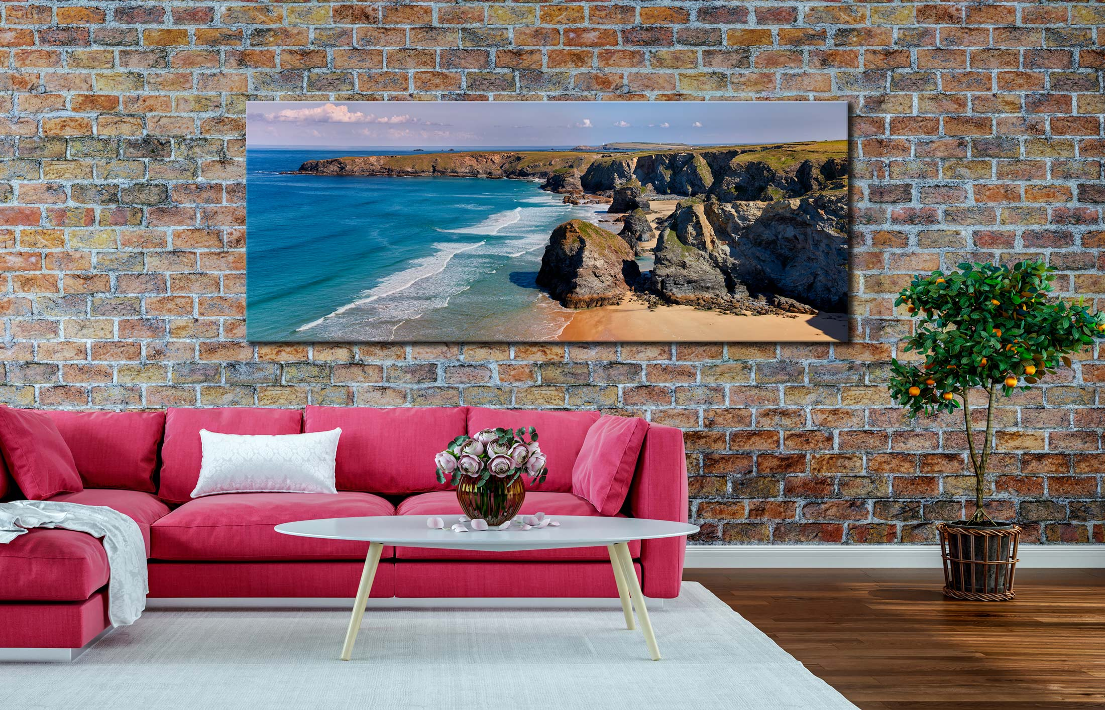 Bedruthan Rock Stacks Panorama - Canvas Print on Wall