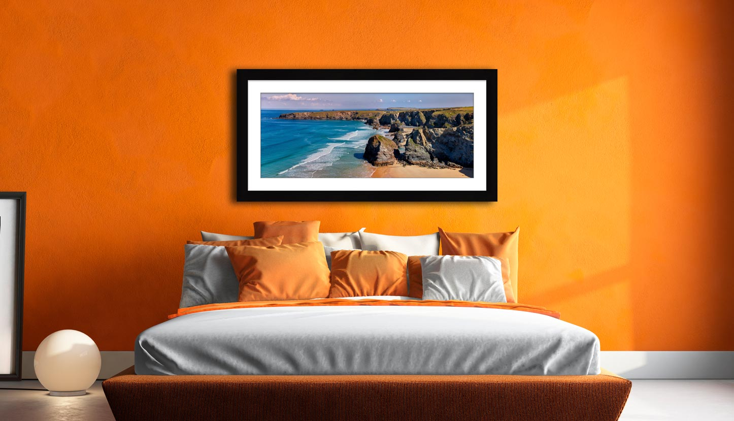 Bedruthan Rock Stacks Panorama - Framed Print with Mount on Wall