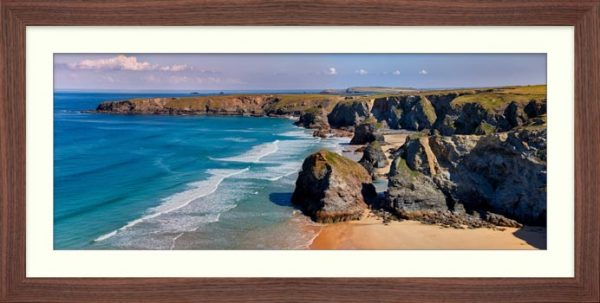 Bedruthan Rock Stacks Panorama - Framed Print with Mount
