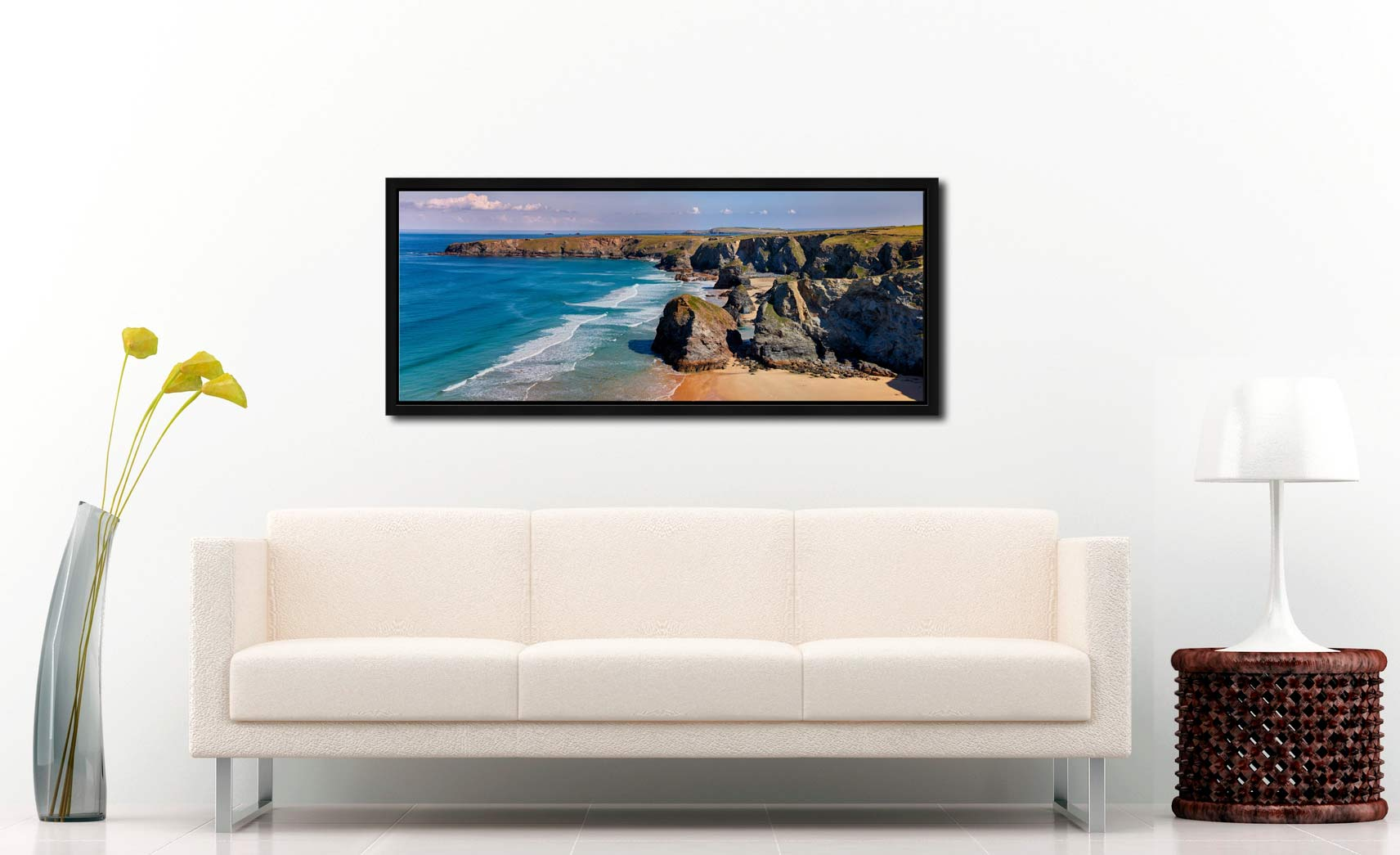 Very large high resolution image of Bedruthan rock stacks and golden beach - Black oak floater frame with acrylic glazing on Wall