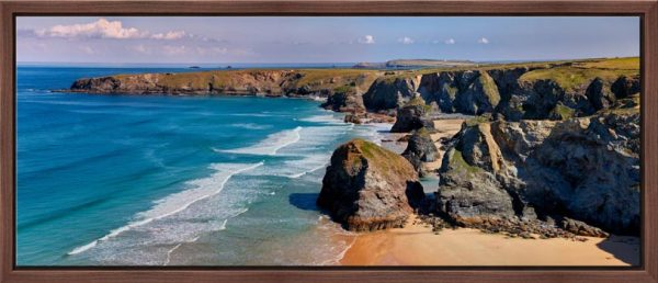 Very large high resolution image of Bedruthan rock stacks and golden beach